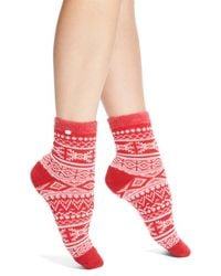 UGG - Red Fair Isle Fleece Socks - Lyst