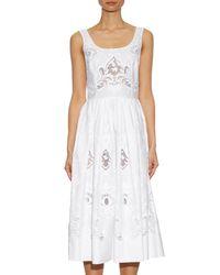 Dolce & Gabbana - White Macramé Lace Embroidered Midi Dress - Lyst