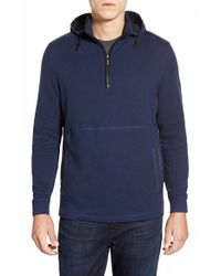 Bugatchi | Blue Hooded Quarter Zip Sweater for Men | Lyst