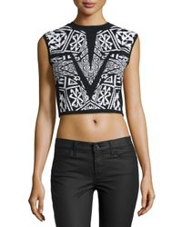 Nicole Miller - Black Maze Double-knit Printed Top - Lyst