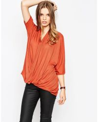 ASOS | Natural Twist Front Top In Slouchy Rib | Lyst