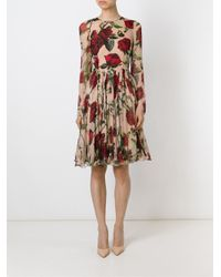 Dolce & Gabbana - Multicolor Rose Print Dress - Lyst