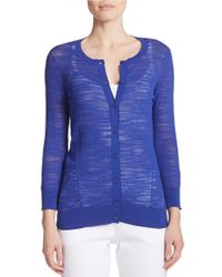 DKNY | Blue Solid Knit Cardigan | Lyst