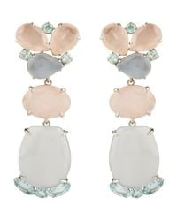 Bounkit | Pink Faceted Rose Quartz, Chalcedony And Bluetopaz Earrings | Lyst