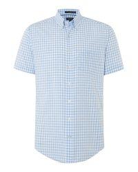 GANT - Blue Wilshire Classic Fit Gingham Shirt for Men - Lyst