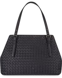 Bottega Veneta | Black Intrecciato Leather Tote - For Women | Lyst