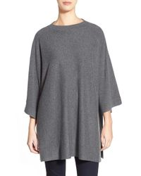 Eileen Fisher | Gray Round Neck Kimono Sleeve Wool Top | Lyst