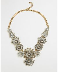 Little Mistress | Metallic Flower Cluster Statement Necklace | Lyst