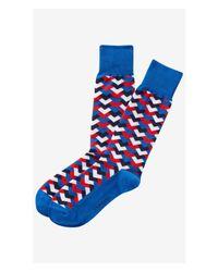 Express | Blue Arrow Geo Dress Socks for Men | Lyst