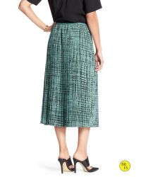 Banana Republic - Blue Factory Print Pleated Skirt - Lyst