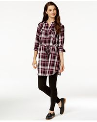 G.H. Bass & Co. | Purple Belted Plaid Shirt Dress | Lyst