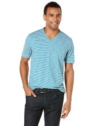 Perry Ellis | Blue Space Dye Stripe T-shirt for Men | Lyst