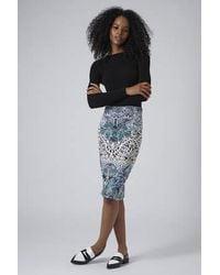 TOPSHOP - Blue Textured Deco Tube Skirt - Lyst