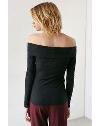 Hiatus - Black Ribbed Off-the-shoulder Top - Lyst