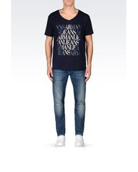 Armani Jeans - Blue Print T-shirt for Men - Lyst