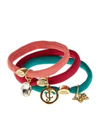 Juicy Couture | Multicolor Charm Hair Ties (set Of 3) | Lyst