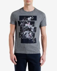 Ted Baker | Gray Split Floral Graphic T-shirt for Men | Lyst