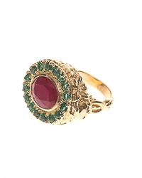 Jade Jagger | Red Ruby Emerald Yellowgold Ring | Lyst