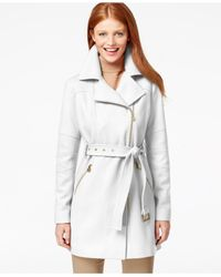 Michael Kors | White Michael Asymmetrical Belted Walker Coat | Lyst