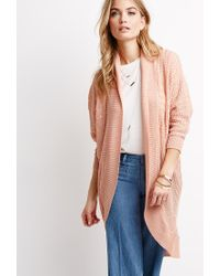Forever 21 - Pink Contemporary Mixed Knit Dolman Cardigan - Lyst
