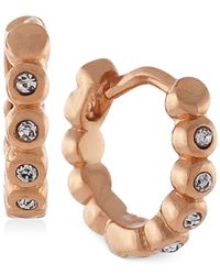 Vince Camuto | Pink Gold-tone Crystal Hoop Earrings | Lyst