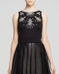 Nicole Miller Artelier | Black Top - Sleeveless Stretch Neoprene Beaded | Lyst