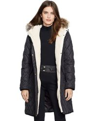 Lauren by Ralph Lauren Black Faux Fur Trim Down & Feather Fill Parka
