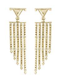 House of Harlow 1960 - Metallic Tres Tri Fringe Earrings - Lyst