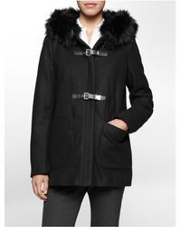 Calvin Klein | Black White Label Faux Fur Hooded Buckle Jacket | Lyst