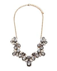 Forever 21 - Gray Floral Faux Gem Necklace - Lyst