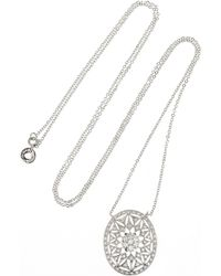 Kenneth Jay Lane - Metallic Rhodiumplated Cubic Zirconia Necklace - Lyst