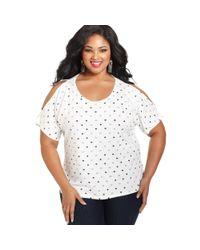 American Rag | White Plus Size Short Sleeve Cutout Heart Print Top | Lyst