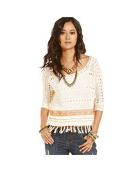 Free People | Natural Crochet Sweater | Lyst