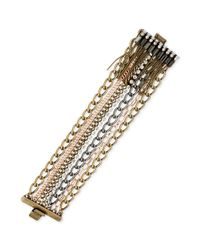 Kenneth Cole - Metallic New York Tritone Multichain Crystal and Fringe Bracelet - Lyst