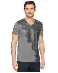 Calvin Klein - Gray Ck One Grid-Graphic V-Neck Slim-Fit T-Shirt for Men - Lyst