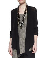 Eileen Fisher - Black Long Angled Linen-blend Cardigan - Lyst