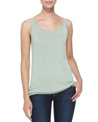 Belford - Green Scoop-neck Bambo Cashmere Tank - Lyst