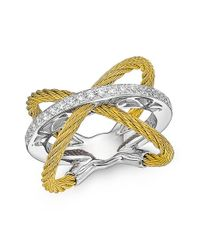 Alor | Metallic X Crossover Diamond Ring | Lyst