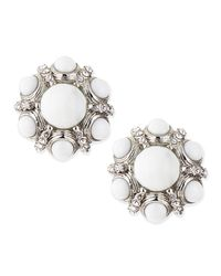 Jose & Maria Barrera | Metallic White Crystalcluster Button Clipon Earrings | Lyst