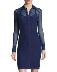 Anatomie | Blue Mona Long-sleeve Mesh Dress | Lyst