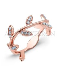 Anne Sisteron | Pink 14kt Rose Gold Diamond Leaf Knuckle Ring | Lyst
