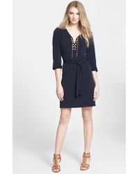 MICHAEL Michael Kors | Blue Chain Lace Jersey Dress | Lyst