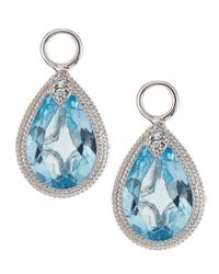 Jude Frances - Pear Blue Topaz Earring Charms With Diamonds - Lyst