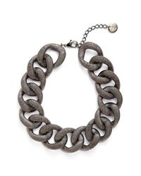 Pono - Metallic 'etched By Fire' Choker Necklace - Pewter - Lyst