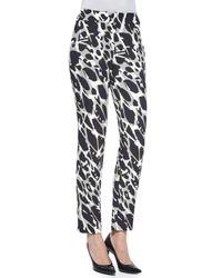 ESCADA - Black Tina Marble-print Slim-leg Pants - Lyst