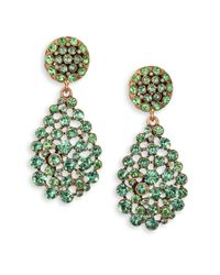 Oscar de la Renta - Green Swarovski Crystal Teardrop Earrings - Lyst