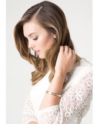 Bebe | Metallic Crystal Lined Bracelet | Lyst