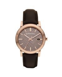 Burberry - Black Mens Swiss Smooth Brown Leather Strap 38mm for Men - Lyst