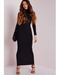Missguided Roll Neck Long Sleeve Bodycon Maxi Black in Black - Lyst c9a2b2b49