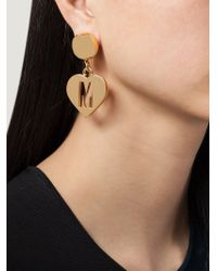 Moschino | Metallic Heart Clip On Earrings | Lyst